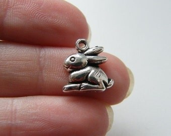 10 Rabbit charms antique silver tone A254