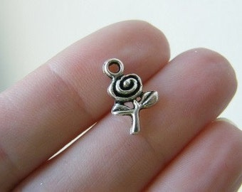 16 Rose charms antique silver tone F17