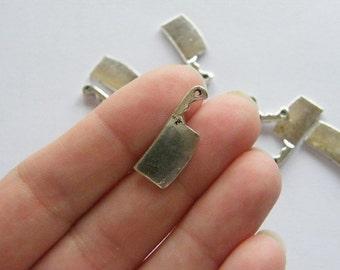 BULK 50 Meat cleaver charms tibetan silver FD91