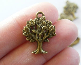 BULK 50 Tree charms antique bronze tone BC167
