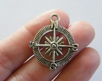 6 Compass pendants tibetan silver SC60