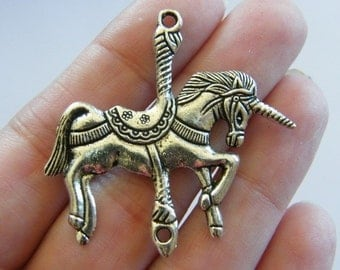 2 Unicorn connector  charms antique silver tone A557
