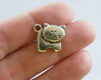 8 Cat charms antique silver tone CT16