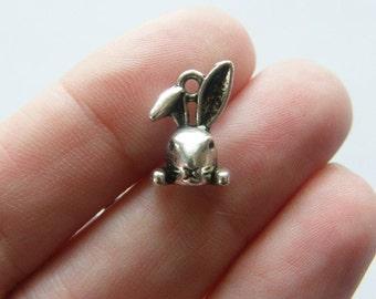 8 Rabbit charms tibetan silver A243