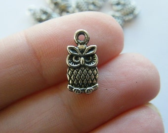 10 Owl Charms tibetan silver O4