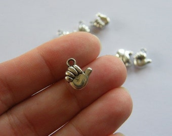 BULK 50 Thumbs up charms antique silver tone M37 - SALE 50% OFF