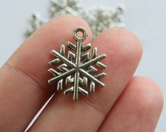 BULK 50 Snowflake Christmas charms antique silver tone SF11