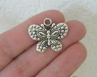 BULK 30 Butterfly pendants antique silver tone B8