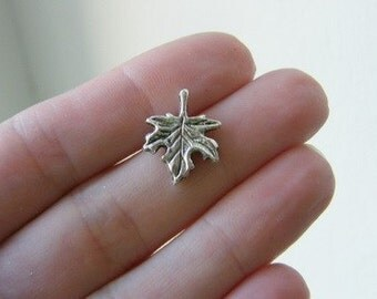 10 Maple leaf charms 17 x 13.5mm antique silver tone L11