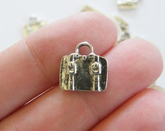 14 Suitcase charms antique silver tone CA176