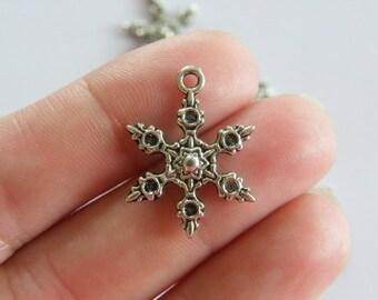 8 Snowflake Christmas charms antique silver tone SF2