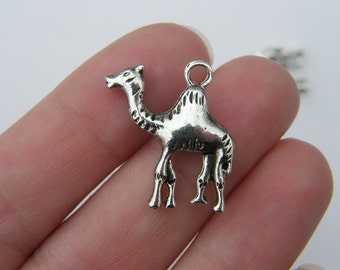 6 Camel charms antique silver tone A219