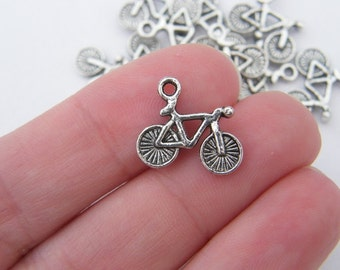10 Bicycle charms antique silver tone TT20