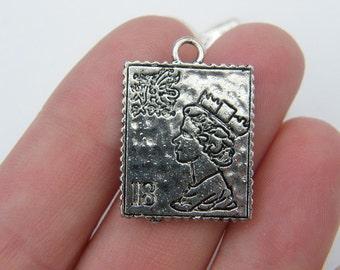 BULK 20 Postage stamp pendants antique silver tone PT54