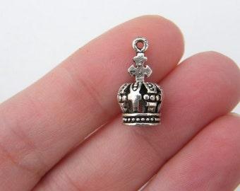 BULK 20 Crown charms antique silver tone CA43 - SALE 50% OFF