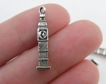6 Big Ben charms antique silver tone WT41