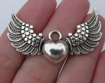 4 Heart with wings pendants tibetan silver AW7