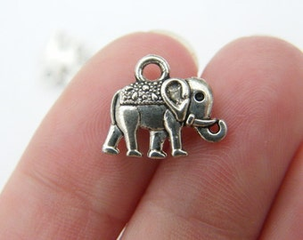 10 Elephant charms antique silver tone A536