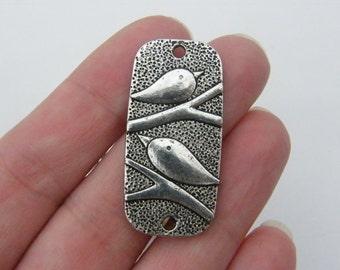4 Bird connector charms antique silver tone B74