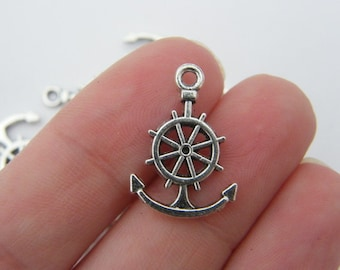 8 Helm and anchor charms tibetan silver AN29