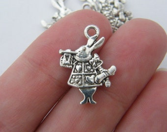 8 White Rabbit charms antique silver tone A246