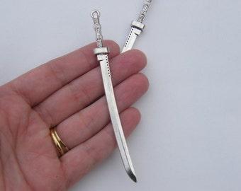 1 Sword pendant antique silver tone SW18