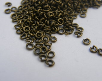 200 Jump rings 3mm antique bronze tone