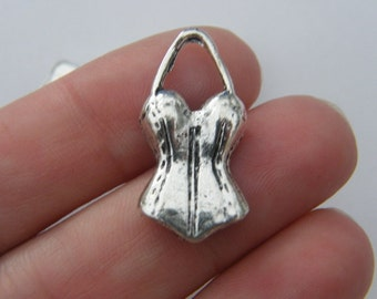 BULK 50 Corset charms antique silver tone CA140