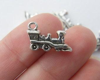 6 Train charms tibetan silver TT13