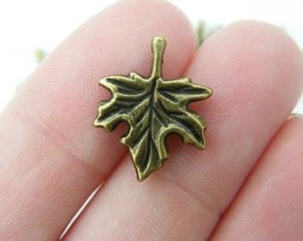 10 Maple leaf charms antique bronze tone BC154