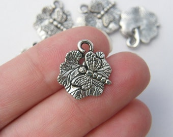BULK 50 Dragonfly on water lily charms antique silver tone L9