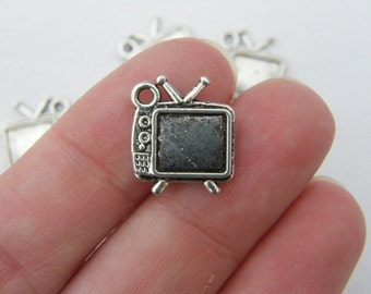 10 Television charms antique silver tone PT74