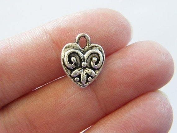 6 Heart charms ( double sided ) 14 x 11mm antique silver tone ( FREE combined shipping )