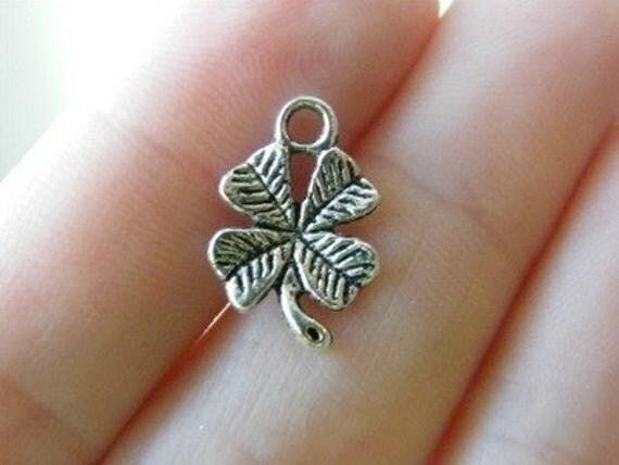 14 Four leaf clover charms antique silver tone L40