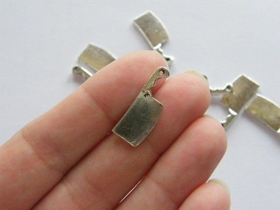 8 Meat cleaver charms tibetan silver FD91