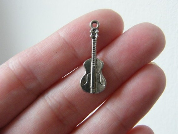 10 Guitar charms 14 x 11mm antique silver tone ( FREE combined shipping )