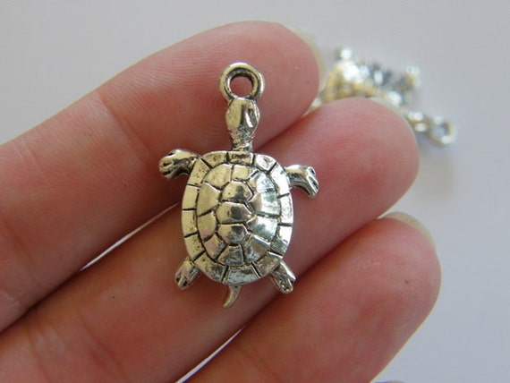 4 Turtle charms 27 x 17mm antique silver tone ( FREE combined shipping )