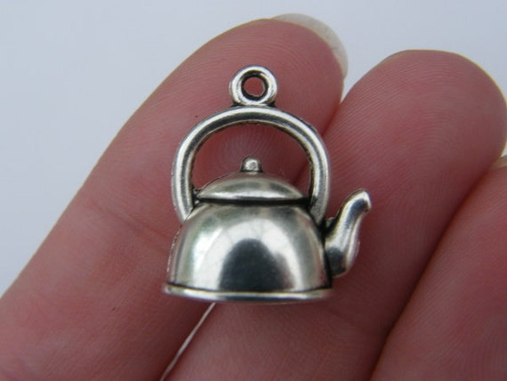 4 Kettle charms ( double sided and 3D ) 20 x 17mm tibetan silver