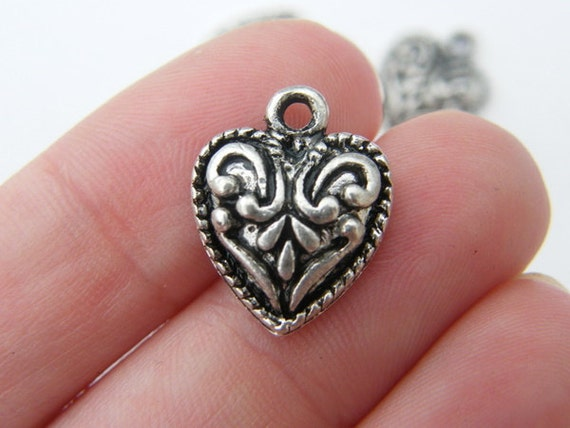 5 Heart charms 17 x 14mm antique silver tone