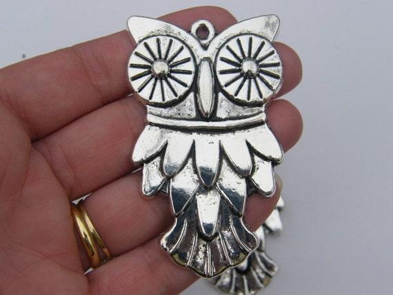 1 Owl charm 69 x 42mm antique silver tone