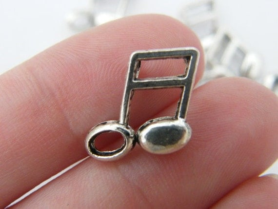 10 Music note charms 17 x 14mm tibetan silver ( FREE combined shipping )