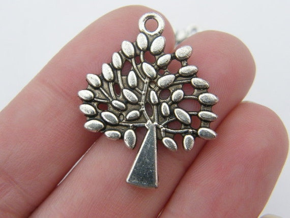4 Tree pendants 29 x 24mm antique silver tone ( FREE combined shipping )