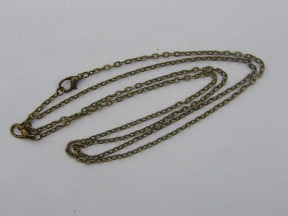 2 Necklace chains 46cm antique bronze tone