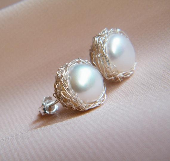 Crochet pearl stud earrings - sterling silver, bridal jewelry