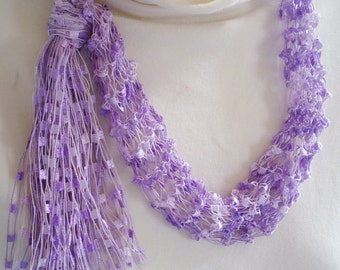 Lavender Hand Knit Necklace Scarf of  Silky  Ladder Type Yarn