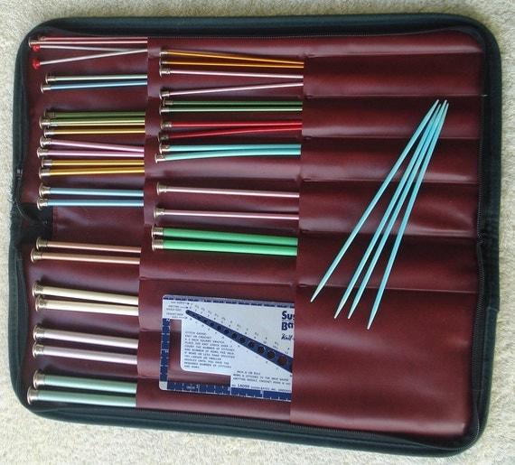 Knitting Needle Sets In Case : Knitting needle case with sets of needles