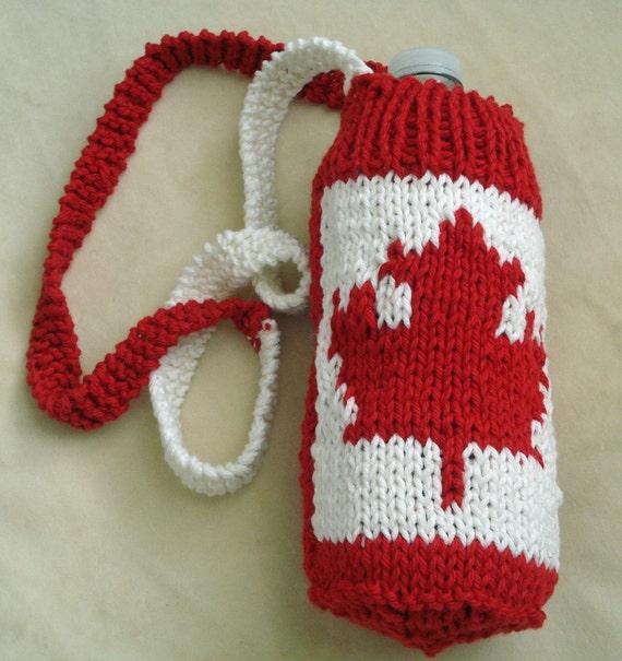 Water bottle holder or carrier with shoulder strap by LoveNYarn