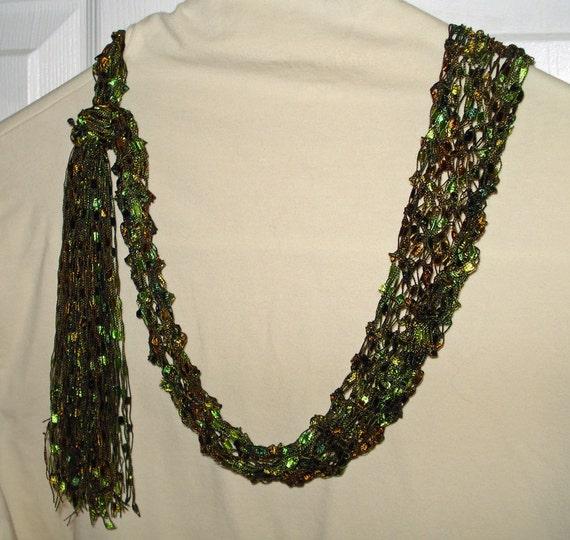 Fashion Necklace Scarf Knit of Airy Ladder Type Yarn by LoveNYarn