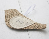 christmas ornament, burlap bird, JOY