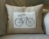 bicycle print pillow cover